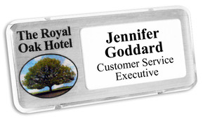 Reusable Name Badges - Clear border and brushed silver background | www.namebadgesinternational.us
